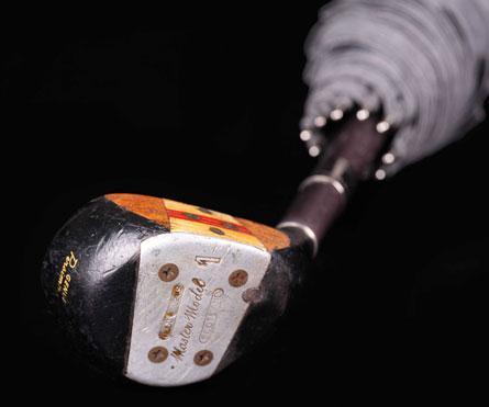 ombrello di produzione artigianale, fusto in legno di faggio affumicato con inserimento di parte di mazza da golf
